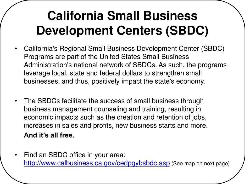 California Small Business Development Centers (SBDC)
