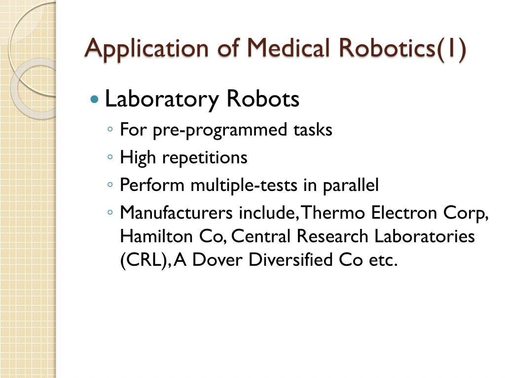 Application of Medical Robotics(1)