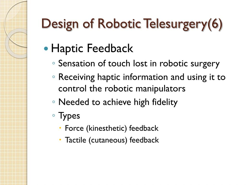 Design of Robotic Telesurgery(6)