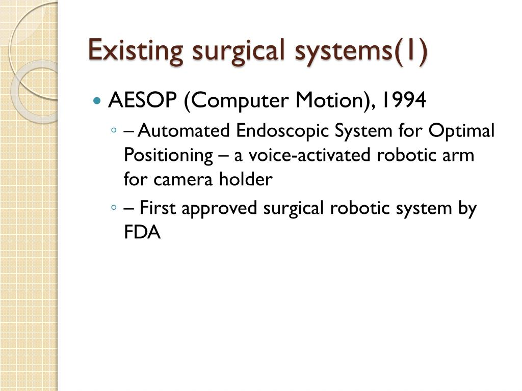 Existing surgical systems(1)