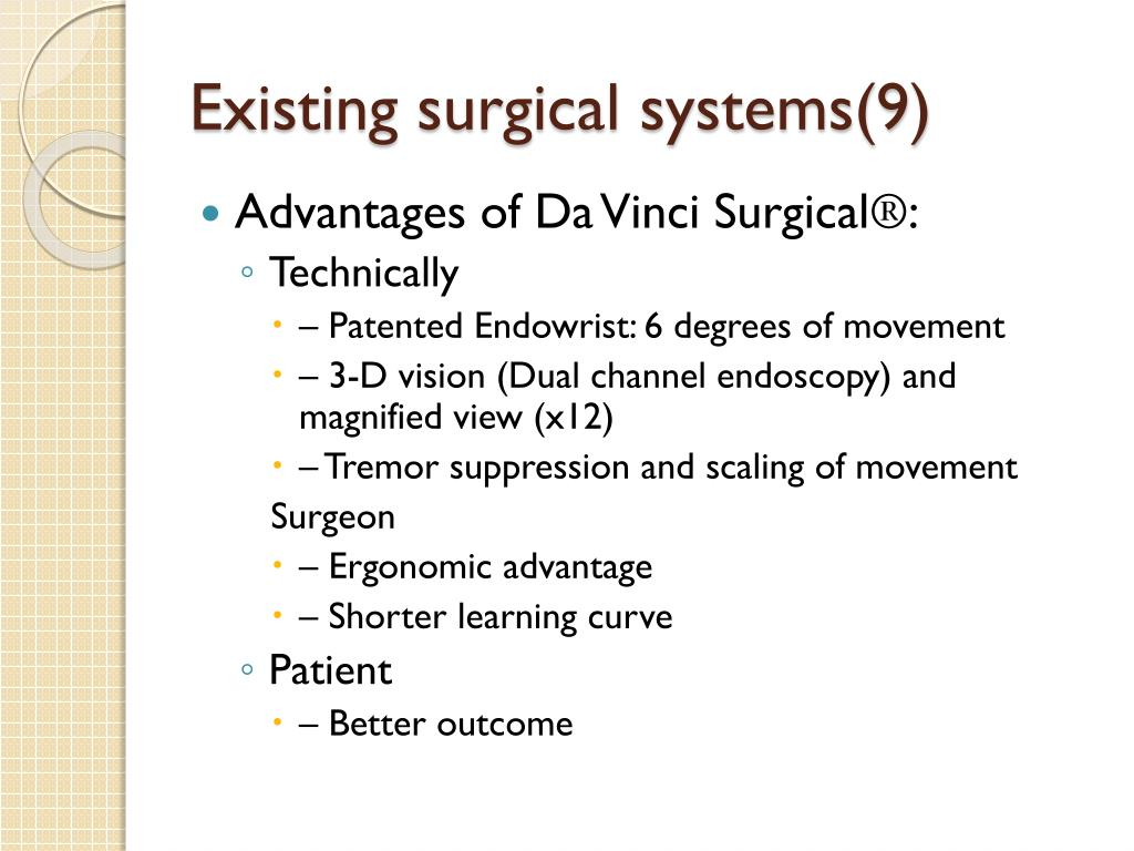 Existing surgical systems(9)