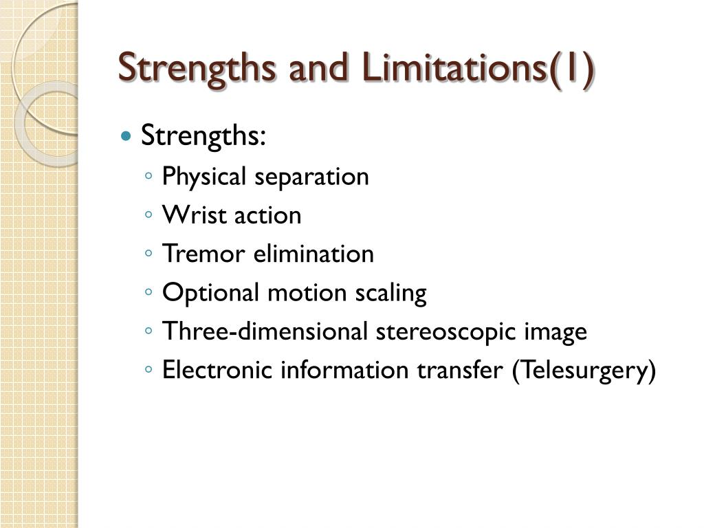 Strengths and Limitations(1)