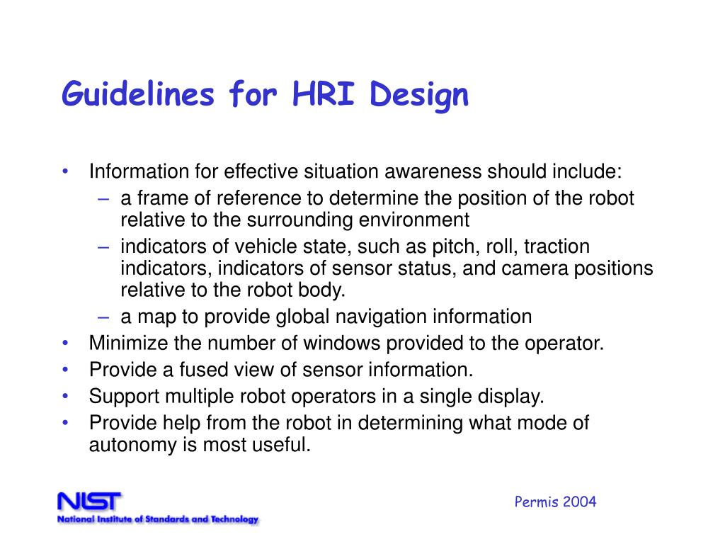 Guidelines for HRI Design