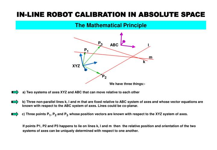 In line robot calibration in absolute space3