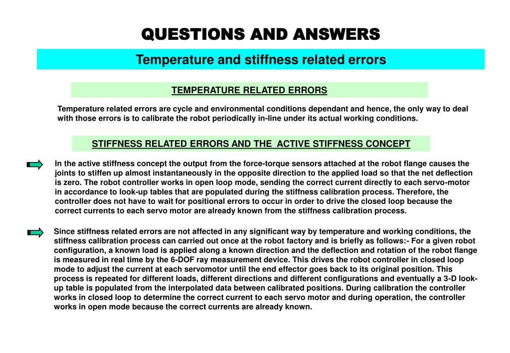 Temperature and stiffness related errors
