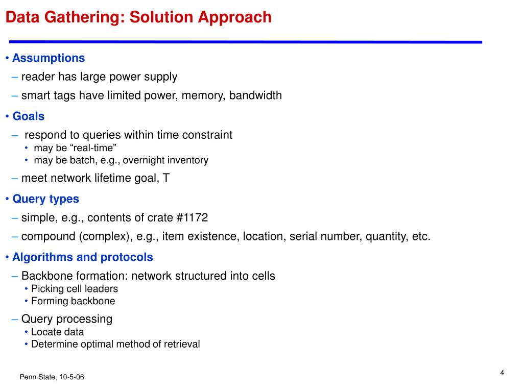 Data Gathering: Solution Approach