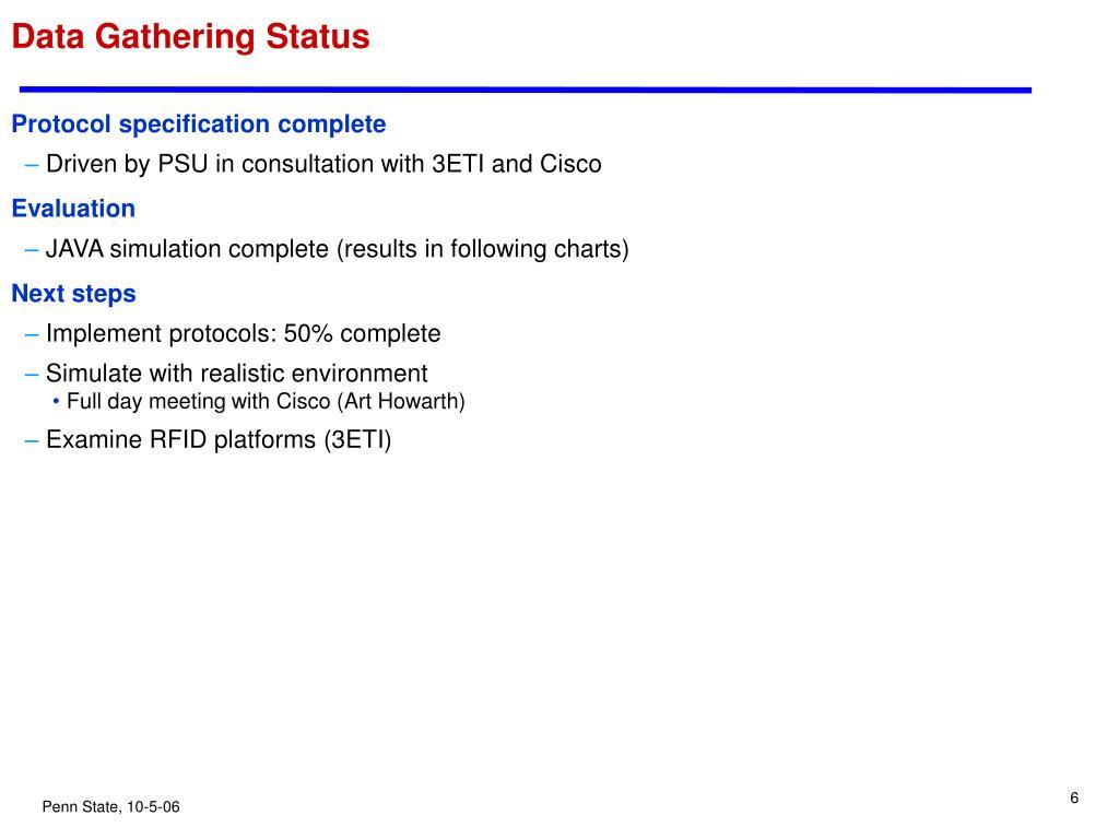 Data Gathering Status