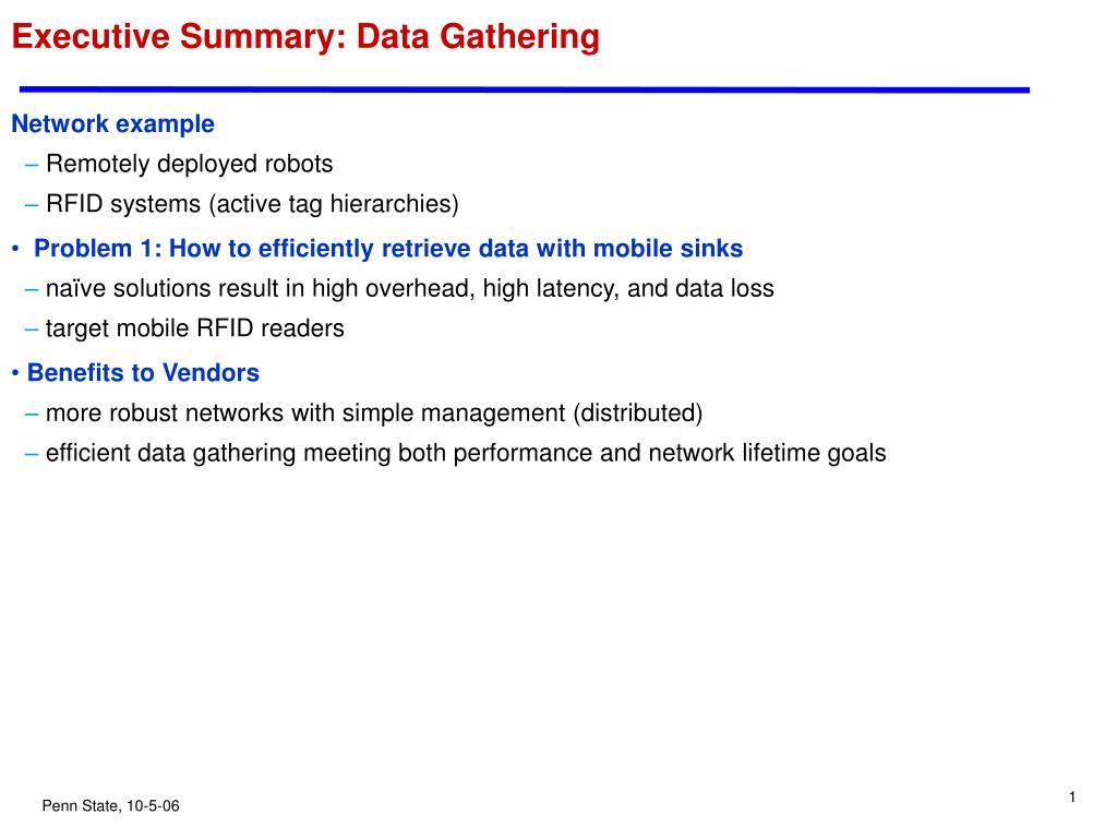 Executive Summary: Data Gathering