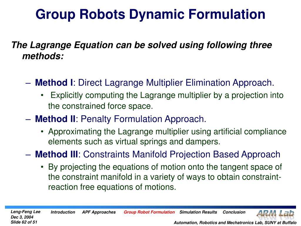 Group Robots Dynamic Formulation