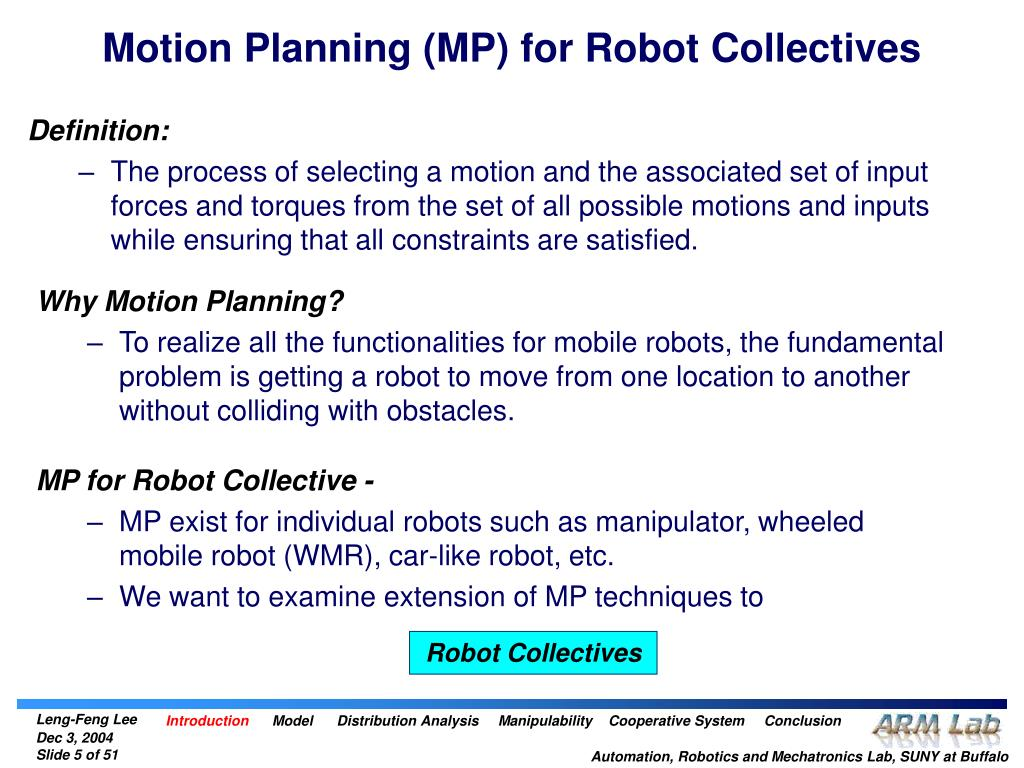 Motion Planning (MP) for Robot Collectives