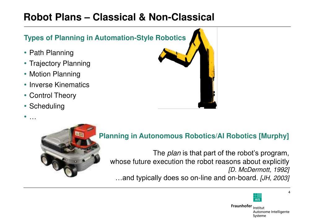 Planning in Autonomous Robotics/AI Robotics [Murphy]