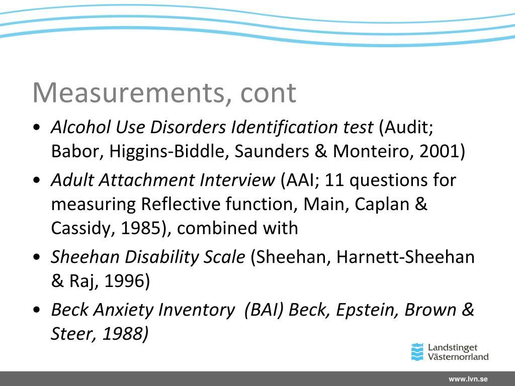 Measurements, cont