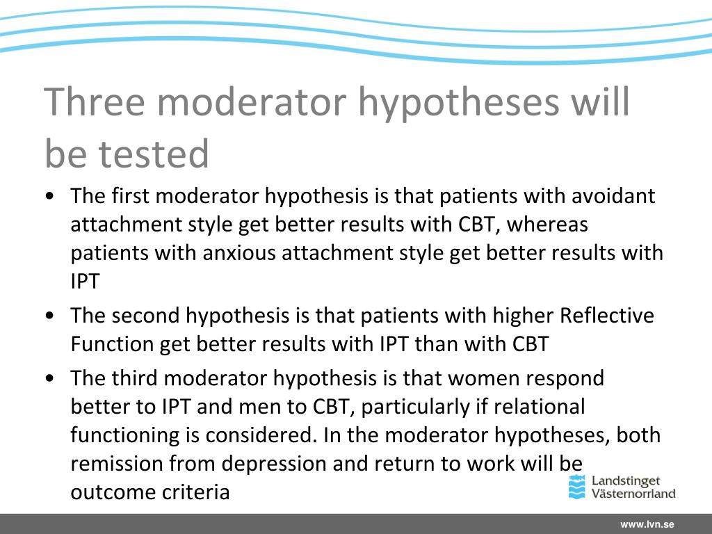 Three moderator hypotheses will be tested
