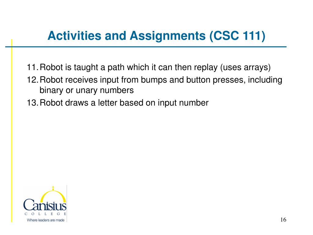 Activities and Assignments (CSC 111)