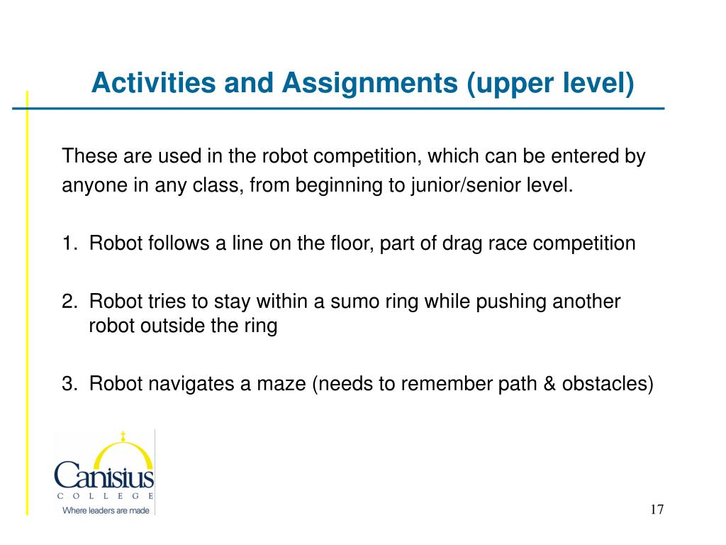 Activities and Assignments (upper level)