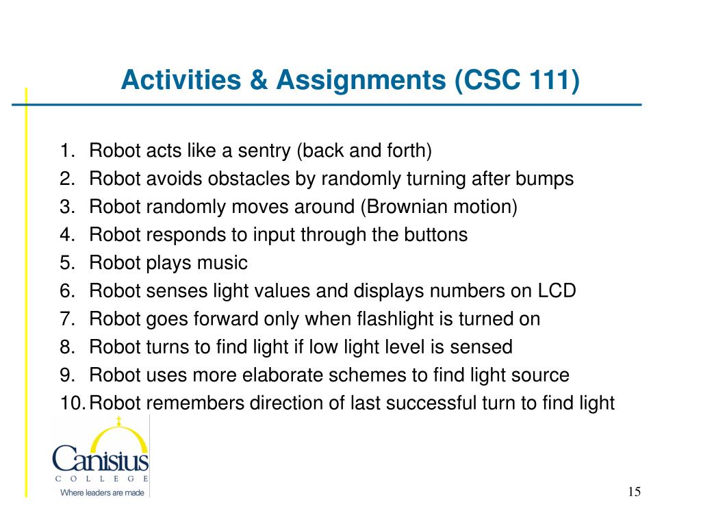 Activities & Assignments (CSC 111)