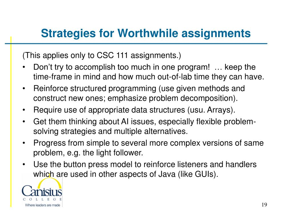 Strategies for Worthwhile assignments