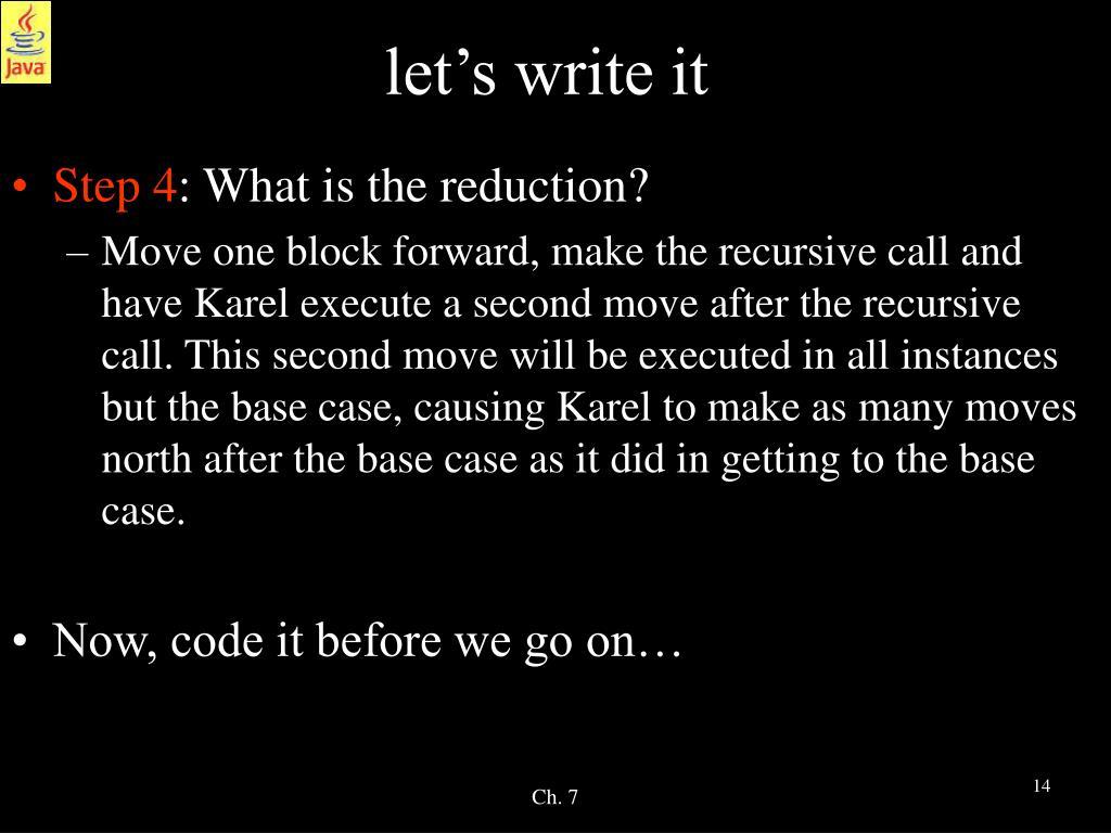 let's write it