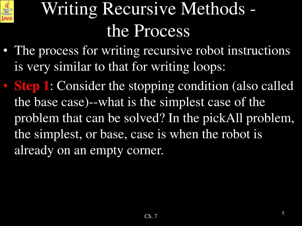 Writing Recursive Methods -