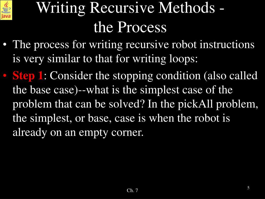 Writing Recursive Methods -