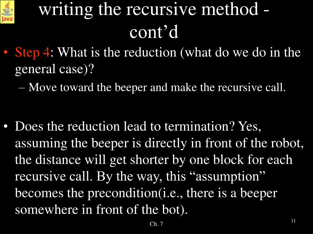 writing the recursive method - cont'd