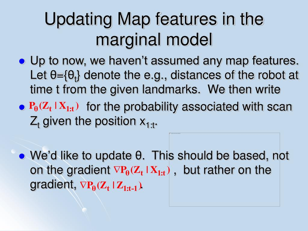 Updating Map features in the marginal model