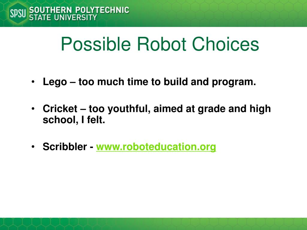 Possible Robot Choices