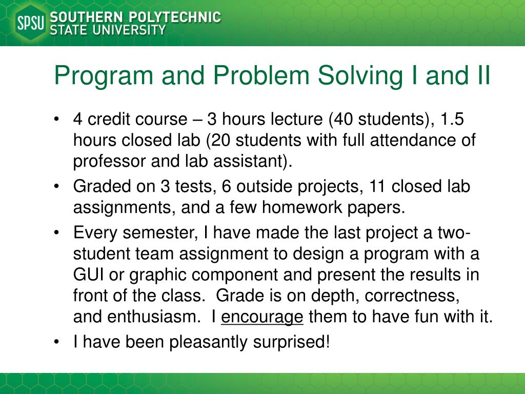 Program and Problem Solving I and II