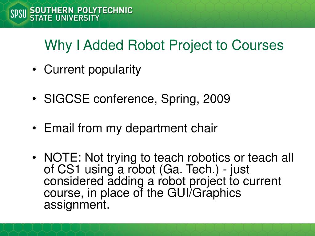 Why I Added Robot Project to Courses