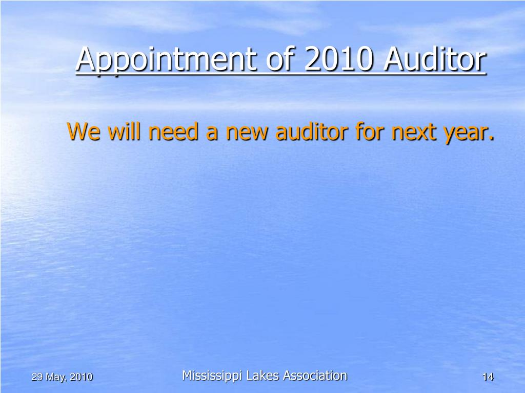 Appointment of 2010 Auditor