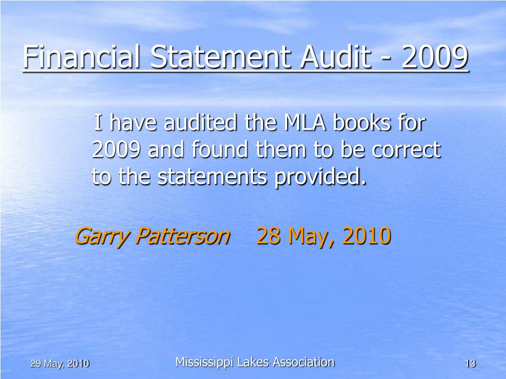 Financial Statement Audit - 2009