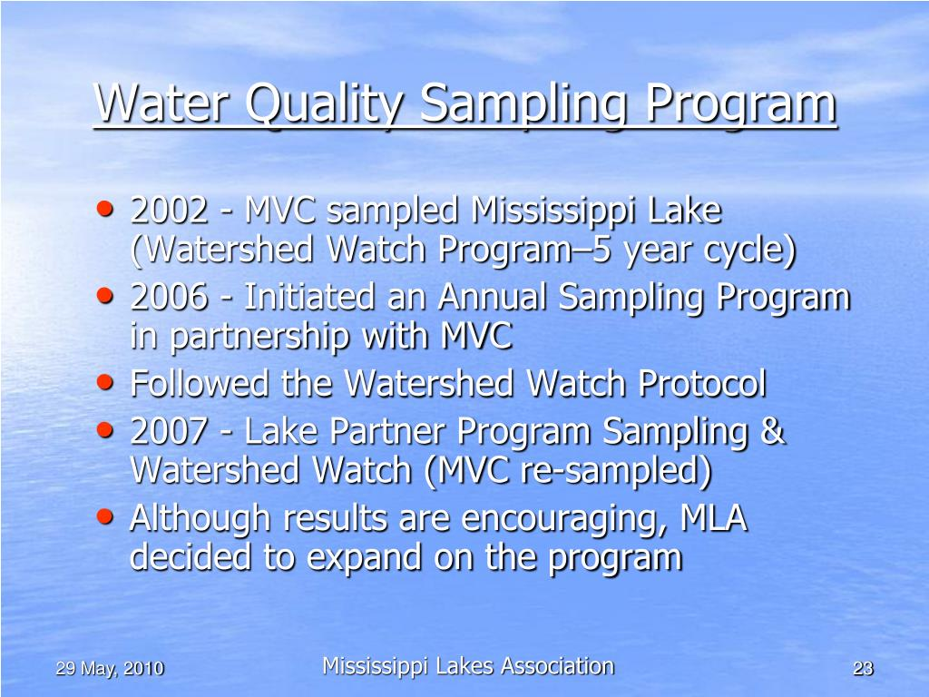 Water Quality Sampling Program