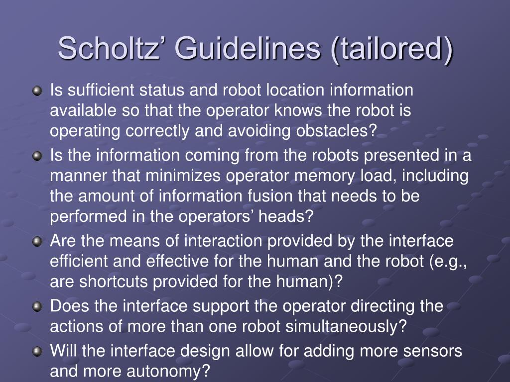 Scholtz' Guidelines (tailored)