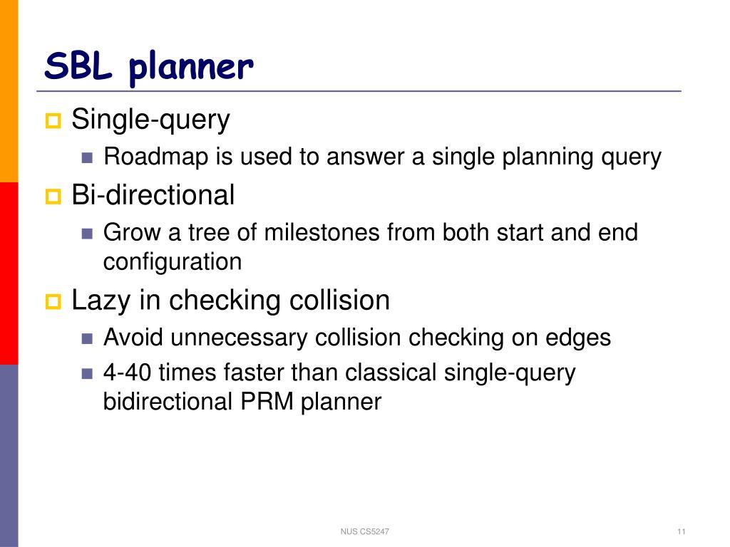 SBL planner