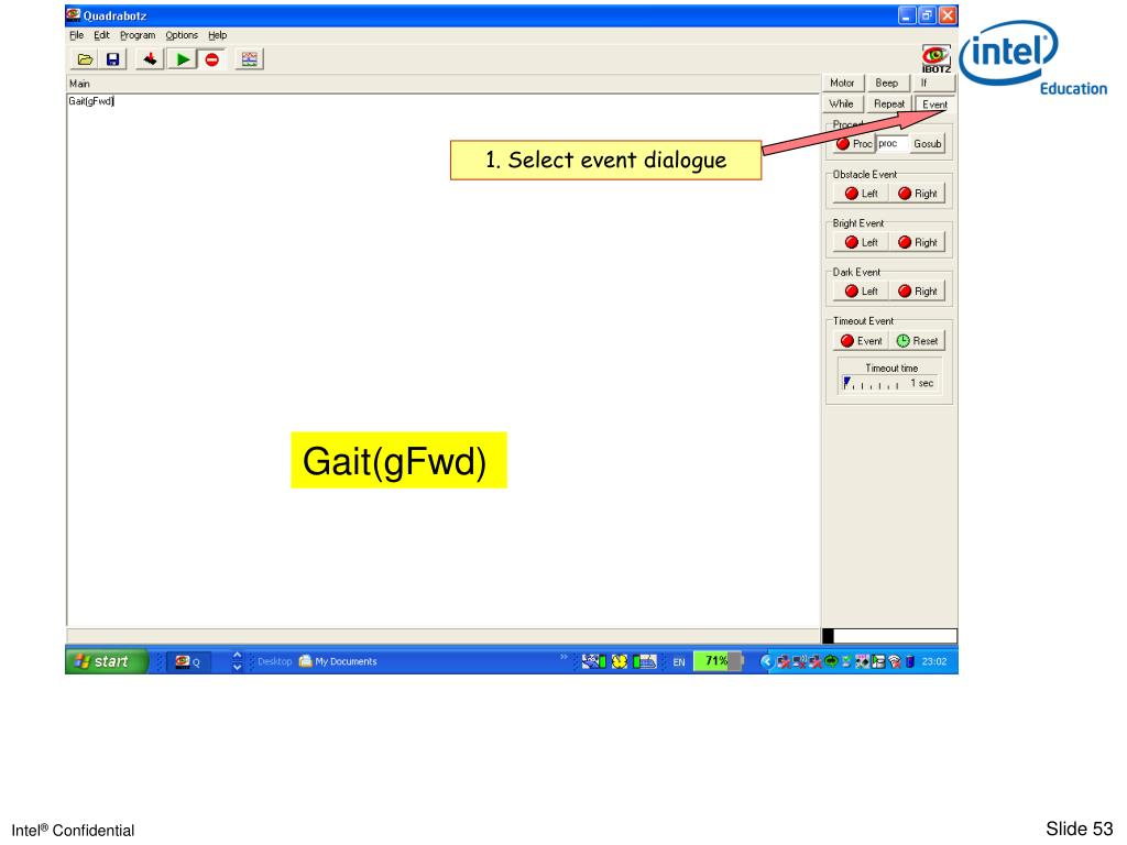 1. Select event dialogue