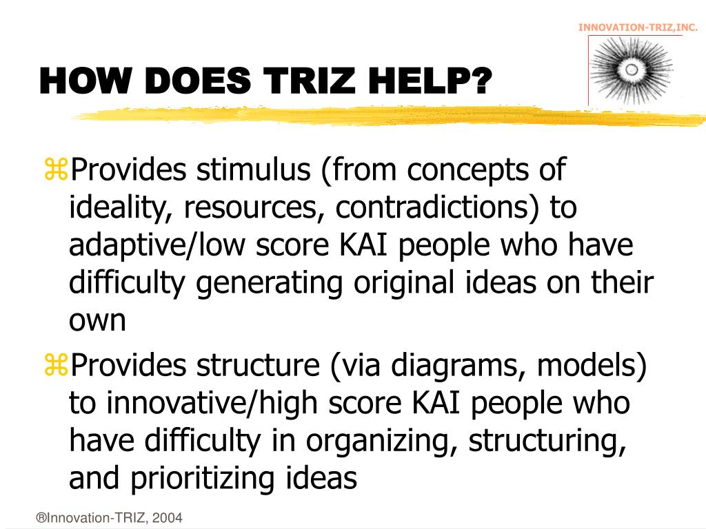 HOW DOES TRIZ HELP?