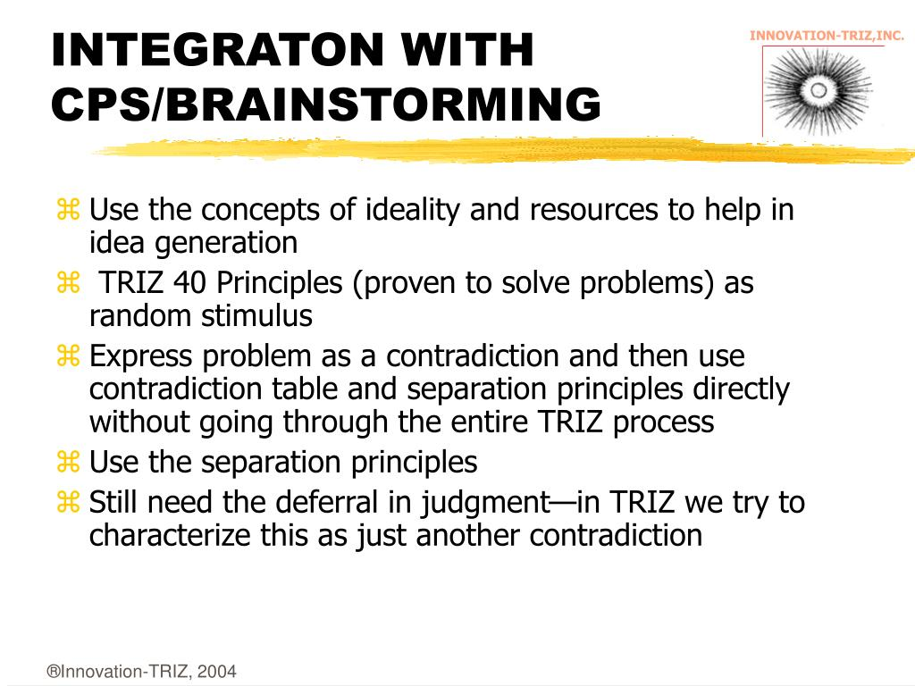 INTEGRATON WITH CPS/BRAINSTORMING