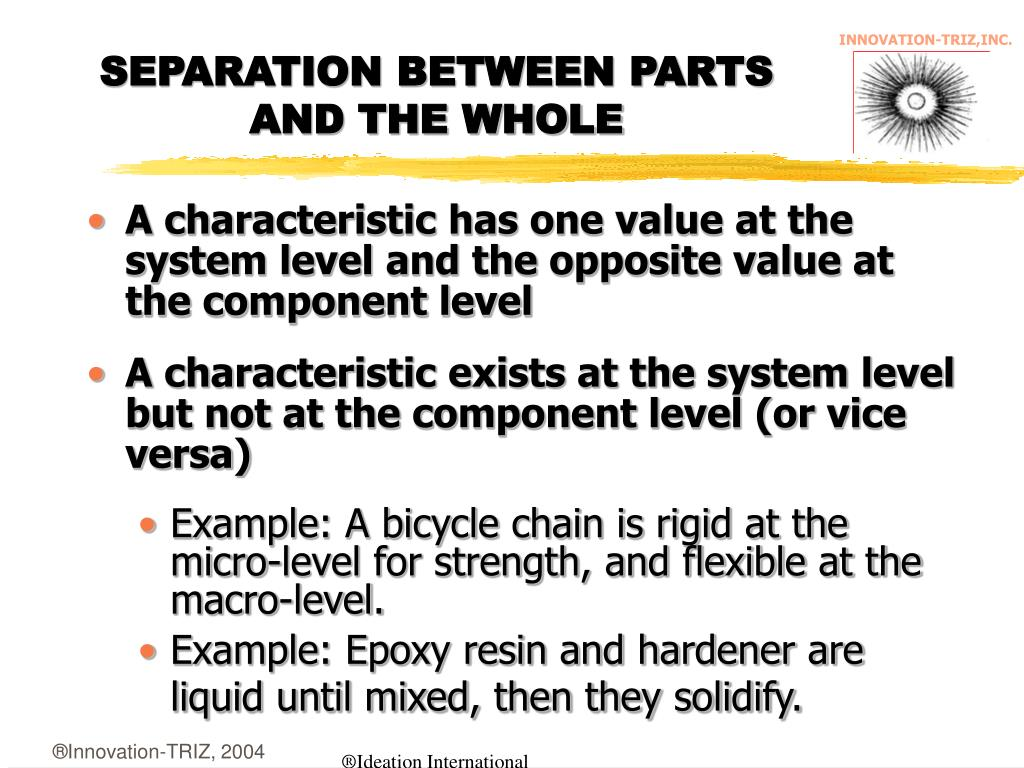 SEPARATION BETWEEN PARTS AND THE WHOLE