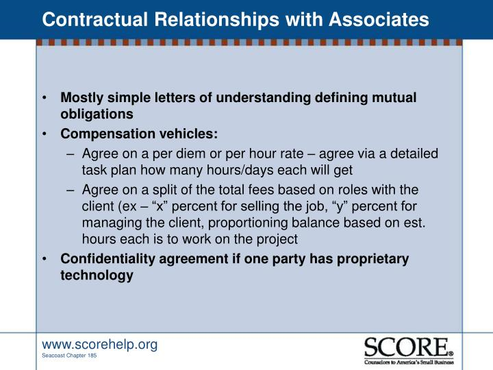 Contractual Relationships with Associates