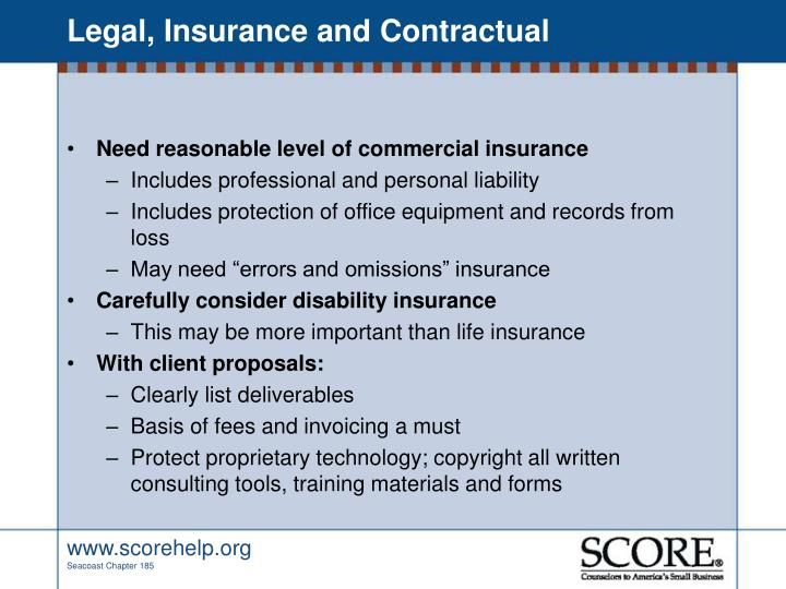 Legal, Insurance and Contractual
