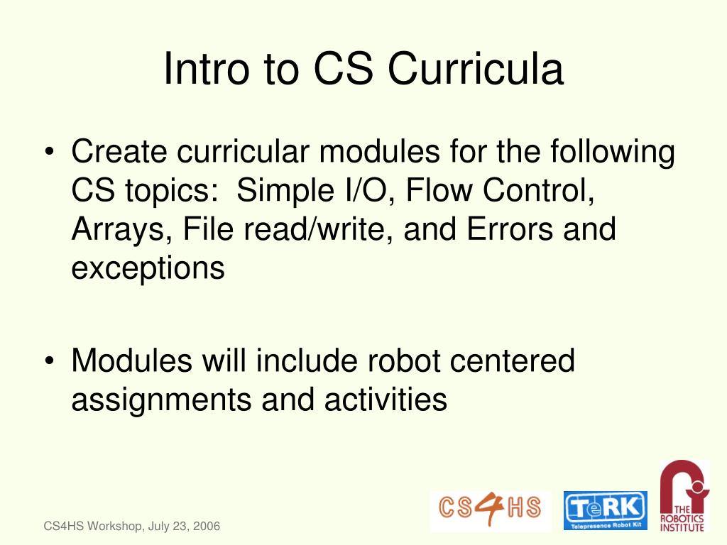 Intro to CS Curricula