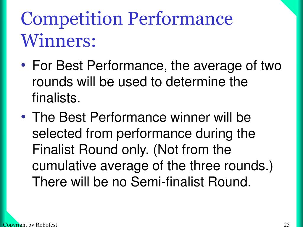Competition Performance Winners: