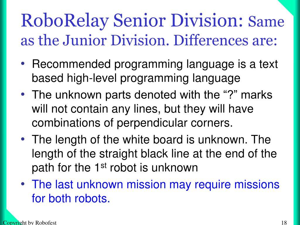 RoboRelay Senior Division: