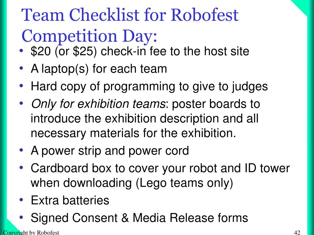 Team Checklist for Robofest Competition Day: