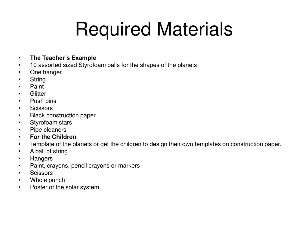 Required Materials