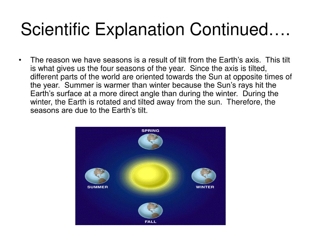 Scientific Explanation Continued….
