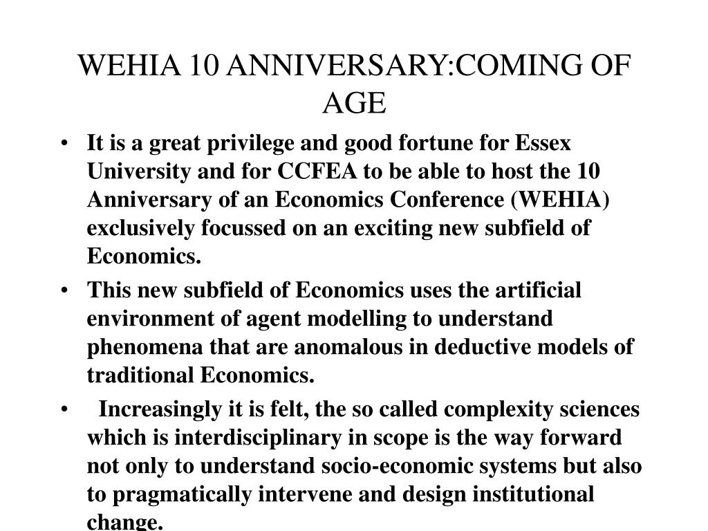WEHIA 10 ANNIVERSARY:COMING OF AGE