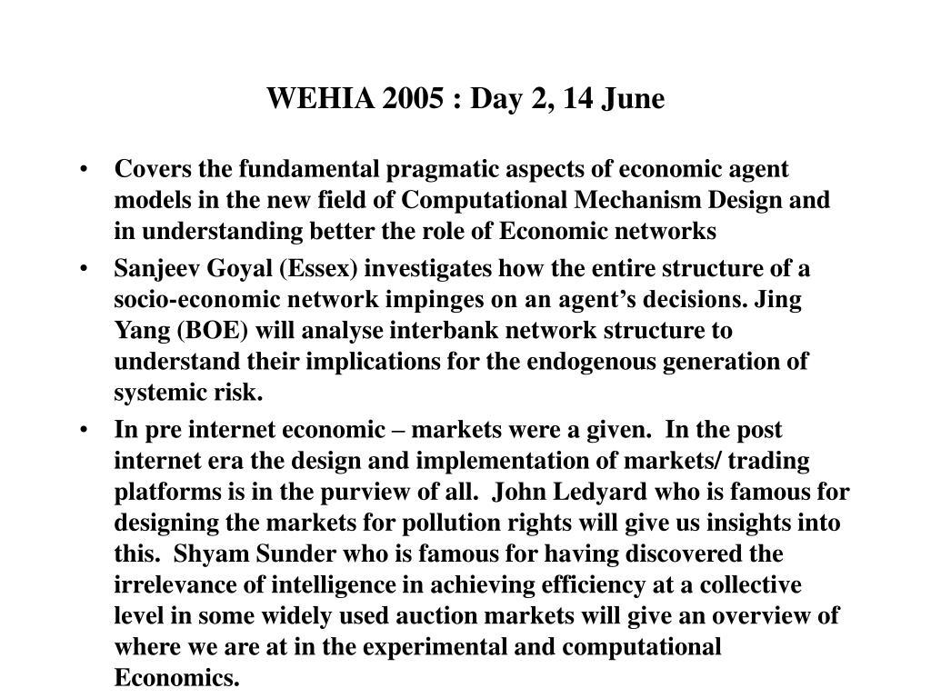 WEHIA 2005 : Day 2, 14 June