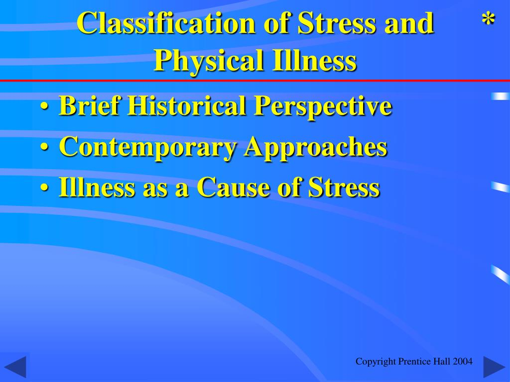 Classification of Stress and Physical Illness