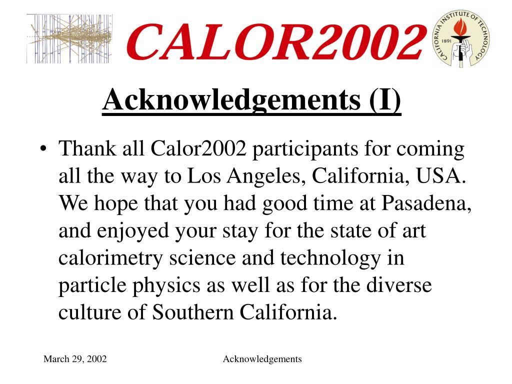 Acknowledgements (I)
